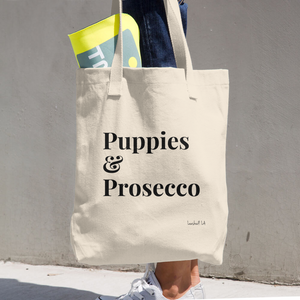 Puppies and Prosecco Tote Bag - Organic Tote Bag