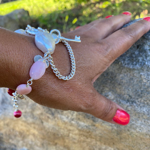 Liquid Silver Bracelet - White Baroque Pearl and Pink Opal Bead (medium)