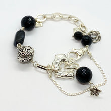 Load image into Gallery viewer, Liquid Silver Bracelet - Onyx