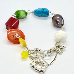 Liquid Silver Bracelet - Colour Me Yellow