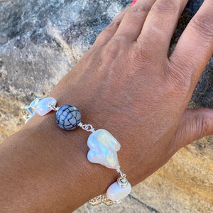 Liquid Silver Bracelet - White Barogue Pearl and Dark Agate Bead