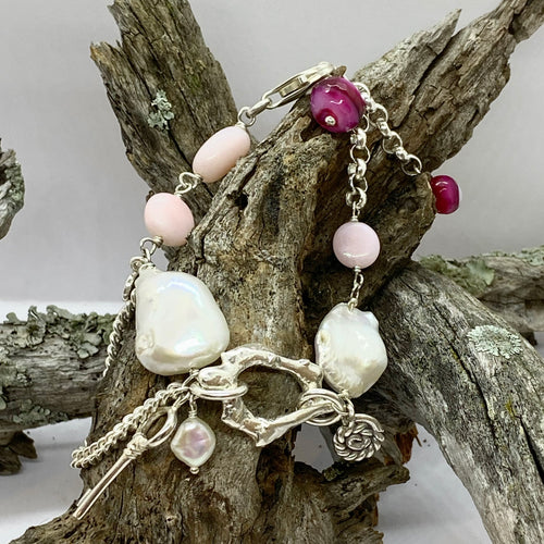 Liquid Silver Bracelet - White Baroque Pearl and Pink Opal Bead (small)