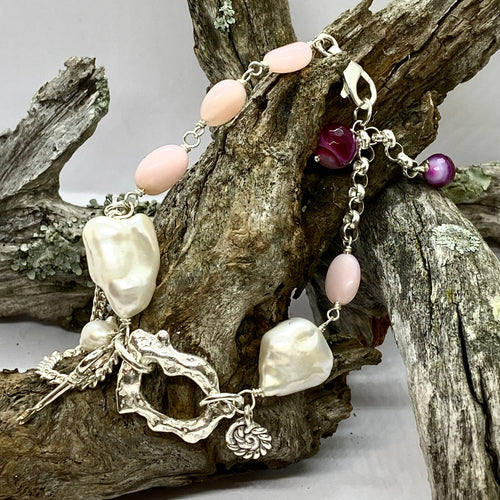 Liquid Silver Bracelet - White Baroque Pearl and Pink Opal Bead (large)