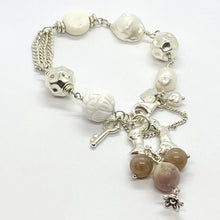 Load image into Gallery viewer, Liquid Silver Bracelet - White Baroque Pearl