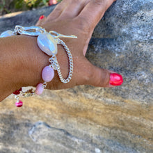Load image into Gallery viewer, Liquid Silver Bracelet - White Baroque Pearl and Pink Opal Bead (medium)