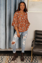 Floral Collage Top in Cognac