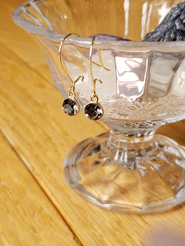 SMOKEY GRAY DROP EARRINGS