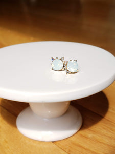 White Opal Crystal Studs