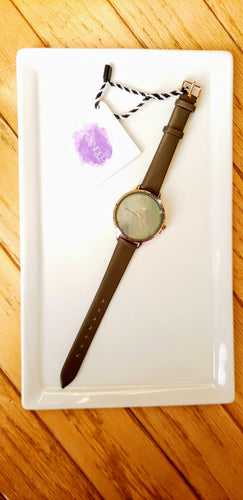 Dark Mother of Pearl + Olive Watch