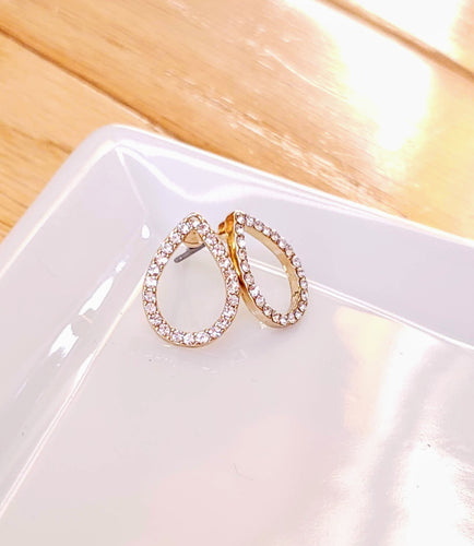 GOLD + DIAMOND TEAR DROPS STUDS