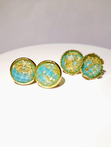 Turquoise w/ Gold Flakes Studs