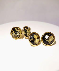 Black w/ Gold Flakes Studs