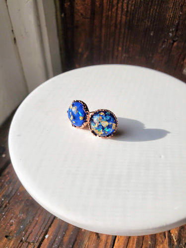 Blue Dome w/ Iridescent + Gold Flakes Studs