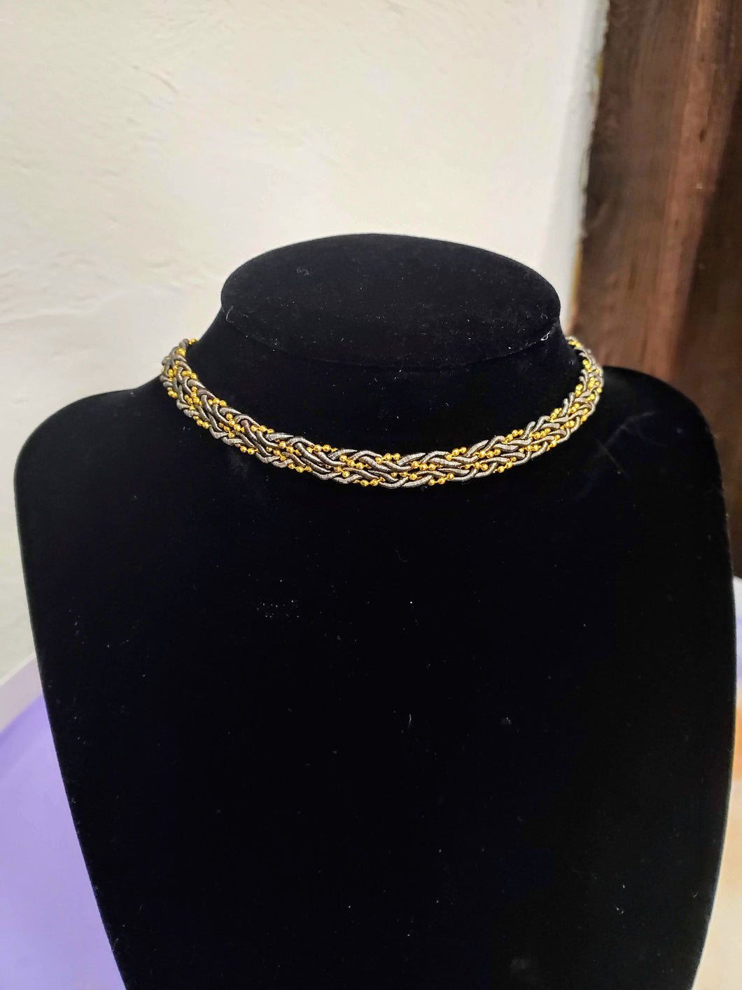 Olive + Gold Beaded Twist Choker