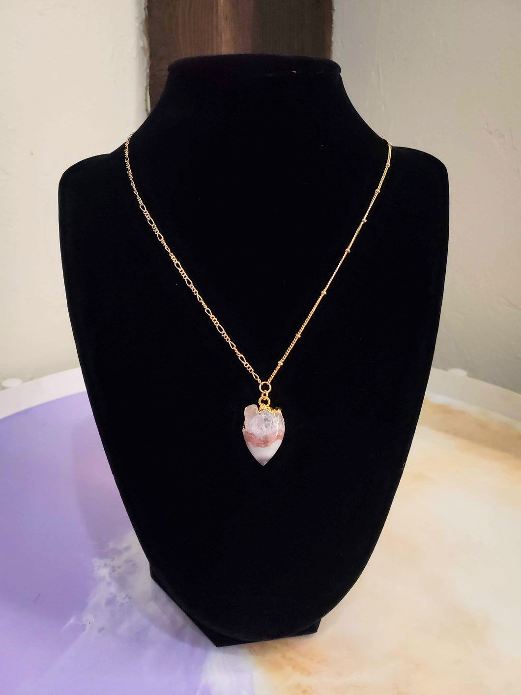Natural Stone Long Chain Necklace