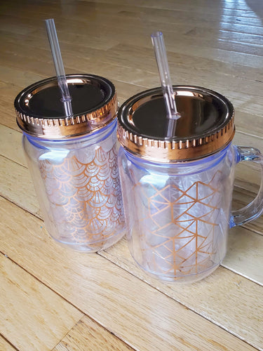 Clear + Rose Gold Faux Jar Tumblers