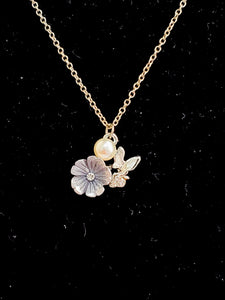 Floral + Pearl Flutter Necklace