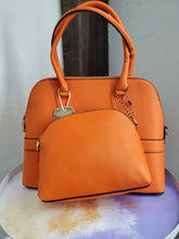 Long Satchel Bag in Orange w/ Extra Pouch