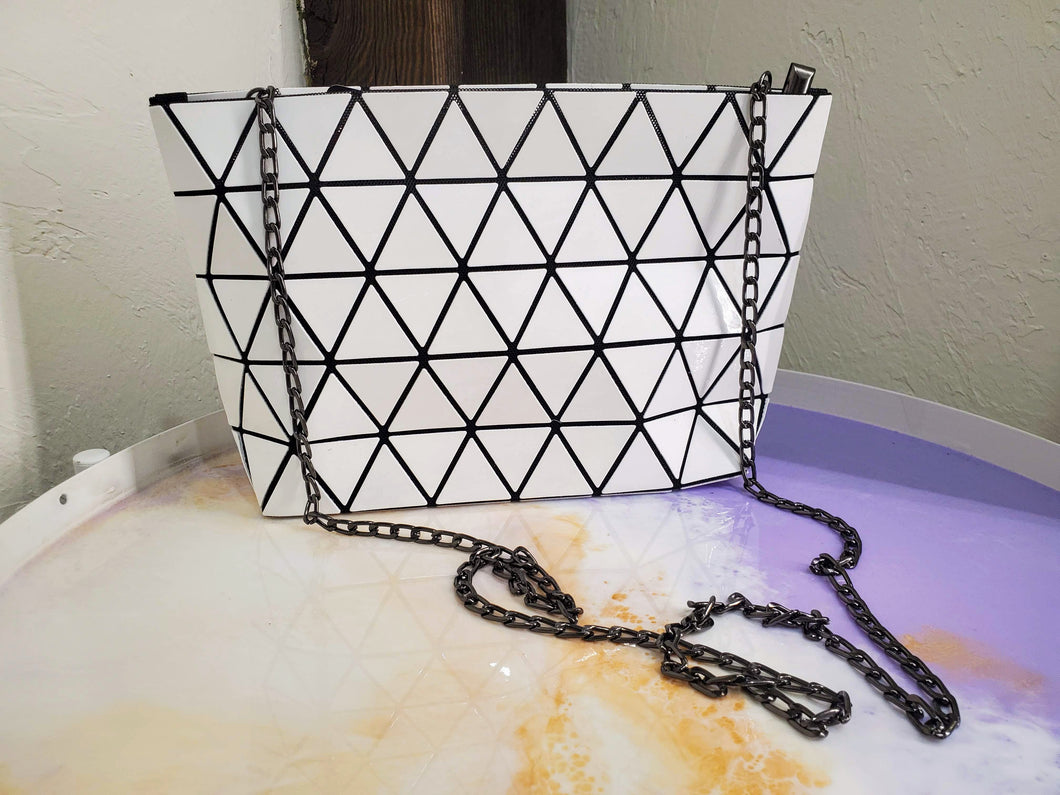 Geometric Crossbody in White