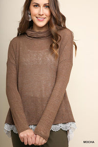 Lyndsay Lurex + Lace Turtleneck