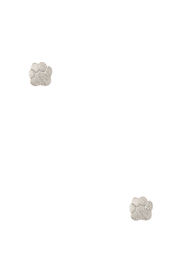 Brushed Metal Paw Print Studs