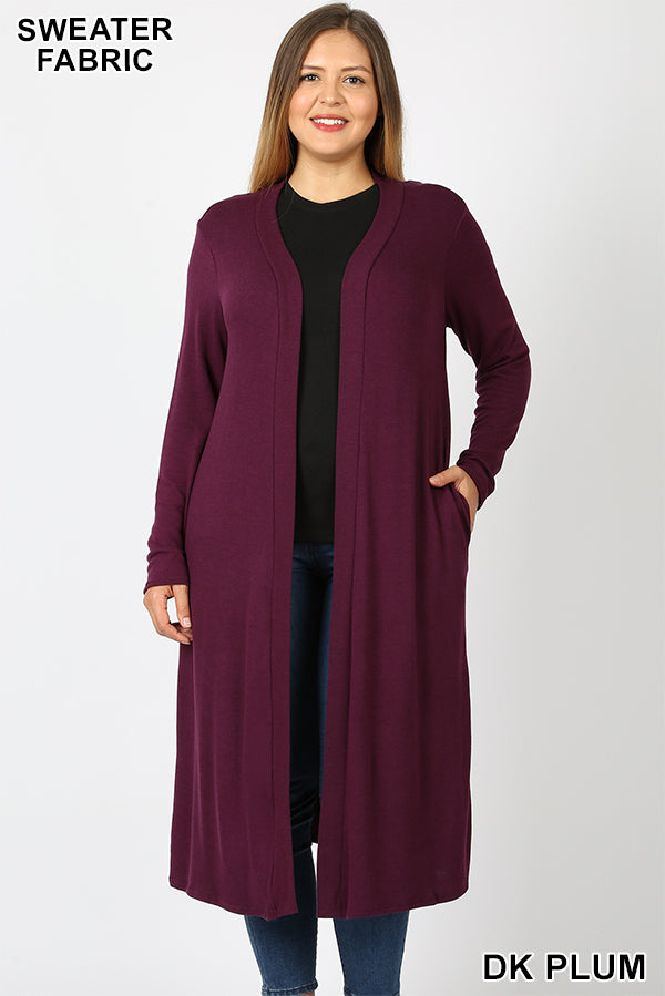 Open Front Duster in Plum (PLUS)