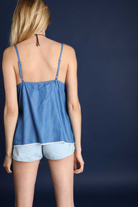 Denim + Lace Babydoll Tank