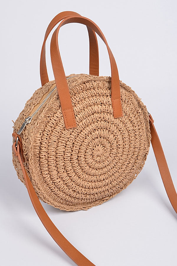 Round Woven Faux Straw Purse