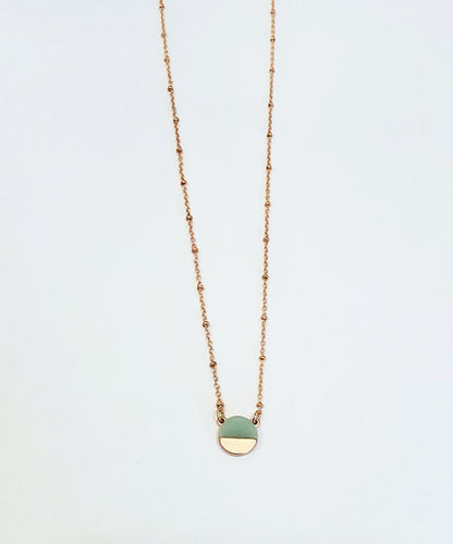 Aquamarine + Matte Gold Round Pendant Necklace