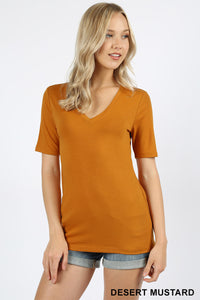 Premium Basic V-Neck in Desert Mustard
