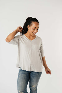 Top Stitch V-Neck In Heather Gray