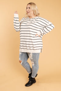 Brand New Attitude Striped Sweater Top in White