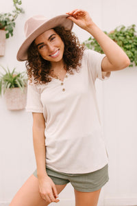 Buttons and Henley Top in Seashell