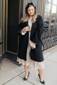 Deconstructed Oversized Trench Coat in Classic Black