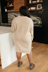 Diamond Details Sweater Dress/Tunic in Beige