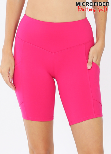 Layla Pocketed Biker Shorts in Hot Pink