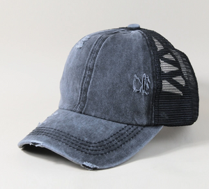 Distressed Ponytail Trucker Hat in Faded Black