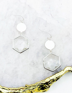 Silver Hexagon Crystal Drop Earrings