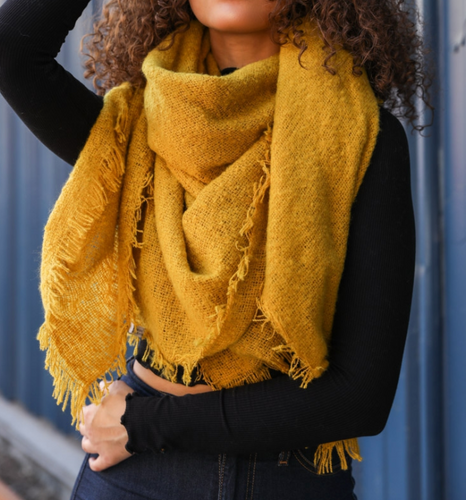 Fringy Mustard Blanket Scarf