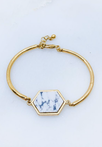 Gold + Marble Hexagon Bracelet