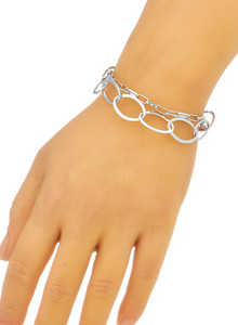 Oval Link Chain Bracelet in Silver