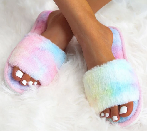 Multicolor Fuzzy Slippers