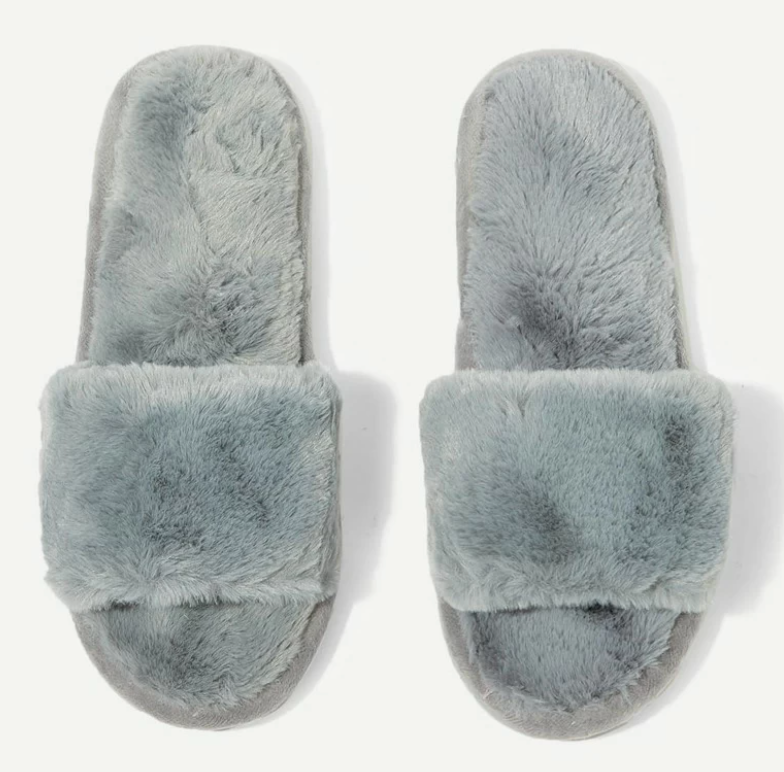 Blue Gray Fuzzy Slippers