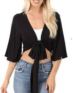 Tori Cropped Wrap Top in Black