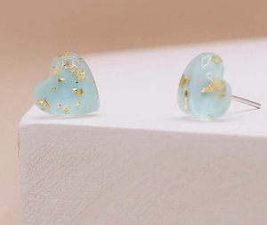 Baby Blue + Gold Flake Heart Studs