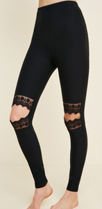 Sylvia Lace Cutout Brushed Leggings
