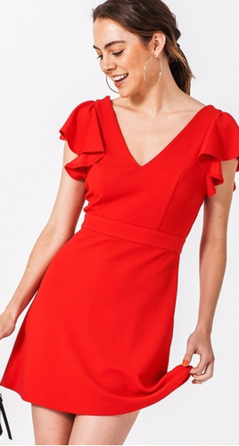 Holly Ruffle Cap Sleeve Dress