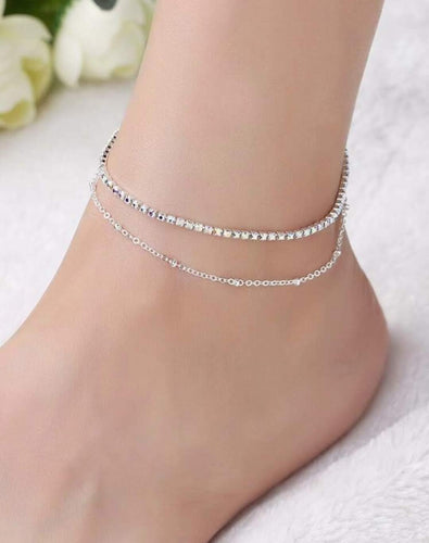 Iridescent + Silver Multi Chain Anklet