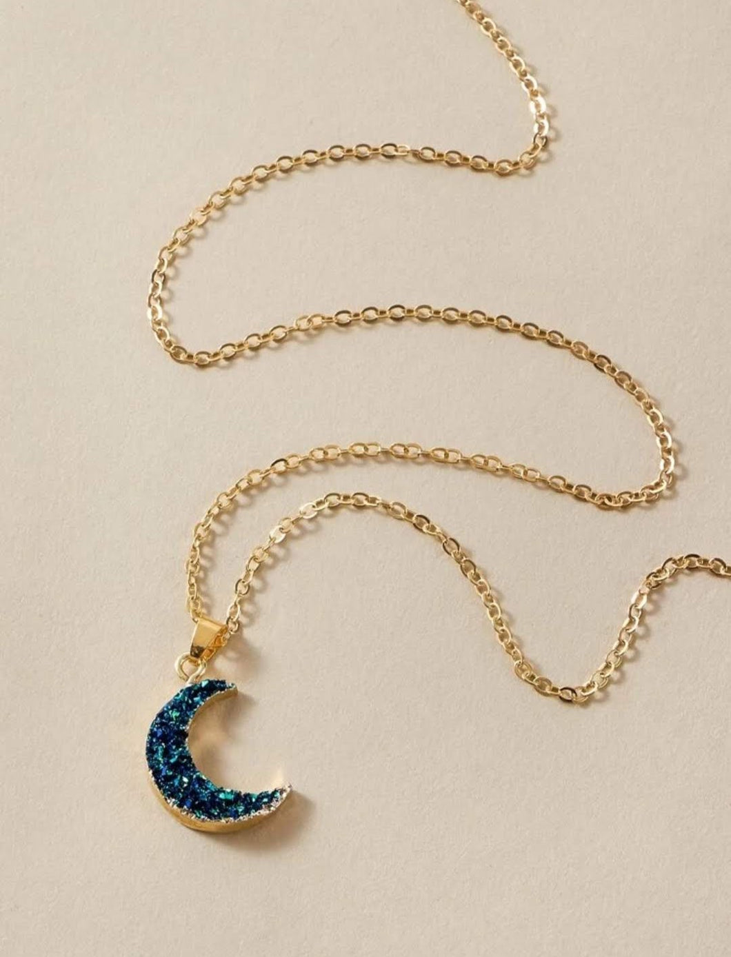 Druzy Blue Moon Gold Necklace