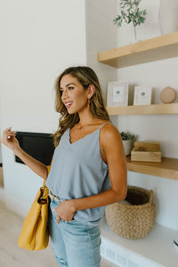 Subtle Scalloped V-Neck Cami In Dusty Blue